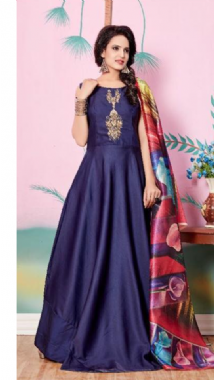 Printed Dupatta With Navy Blue Gown